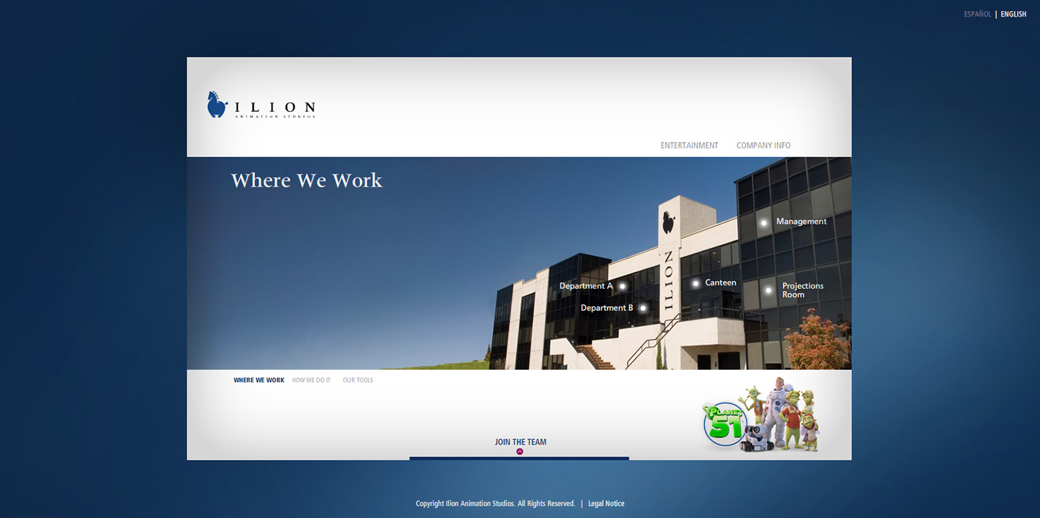 Diseño de la ventana where we work web Ilion