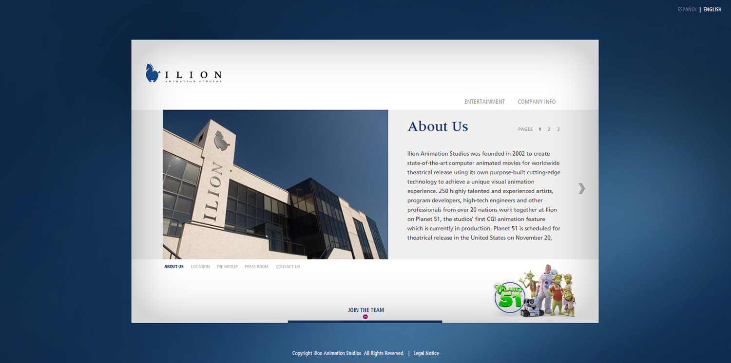 Diseño de la ventana About Us web Ilion