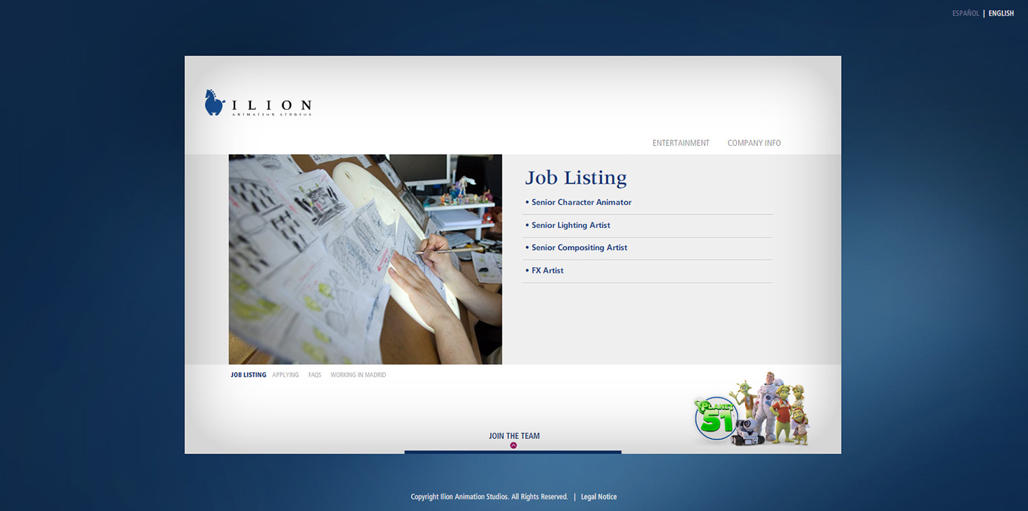Diseño de ventana Job List web Ilion
