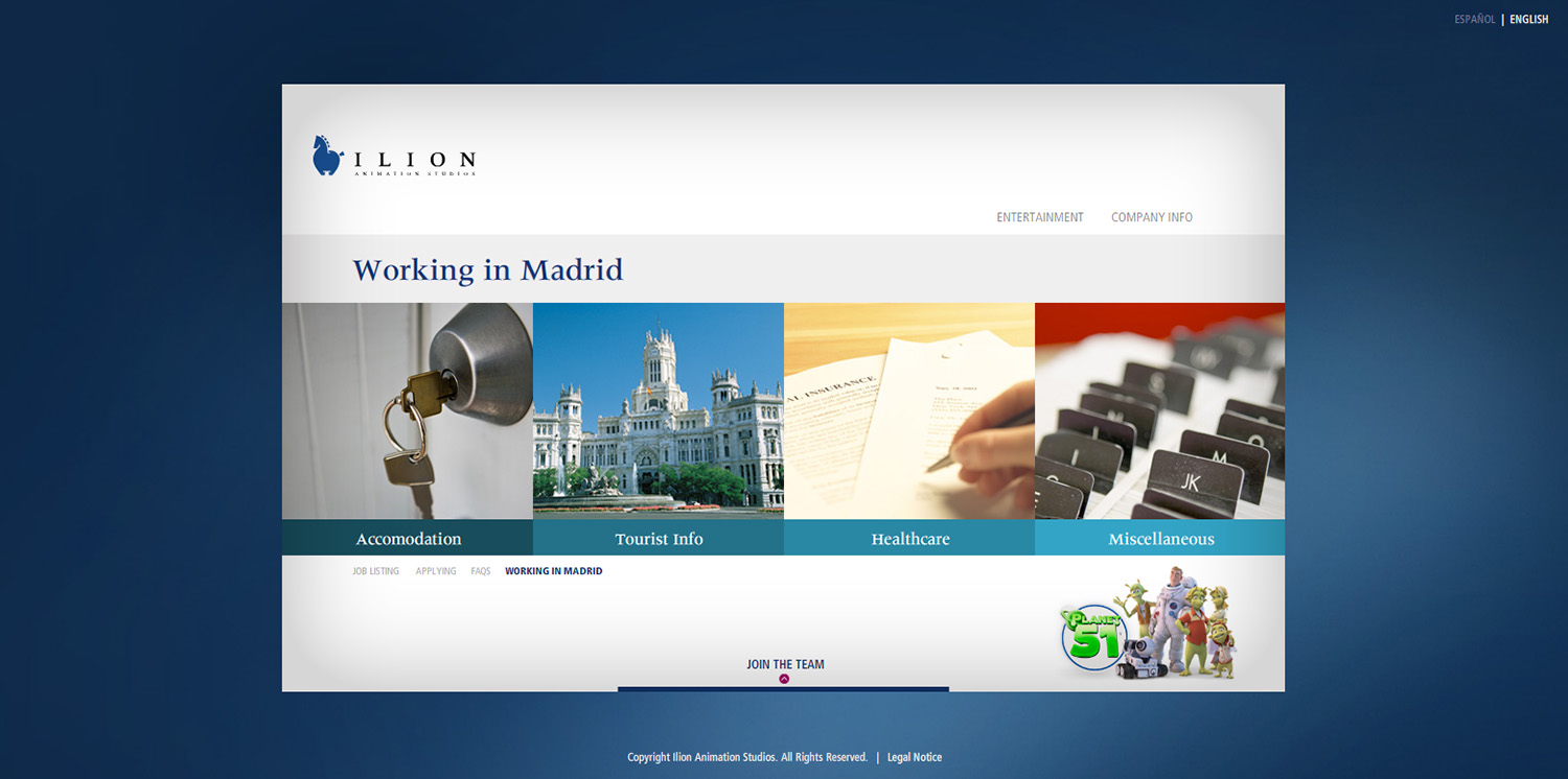Diseño ventana Working in Madrid web Ilion