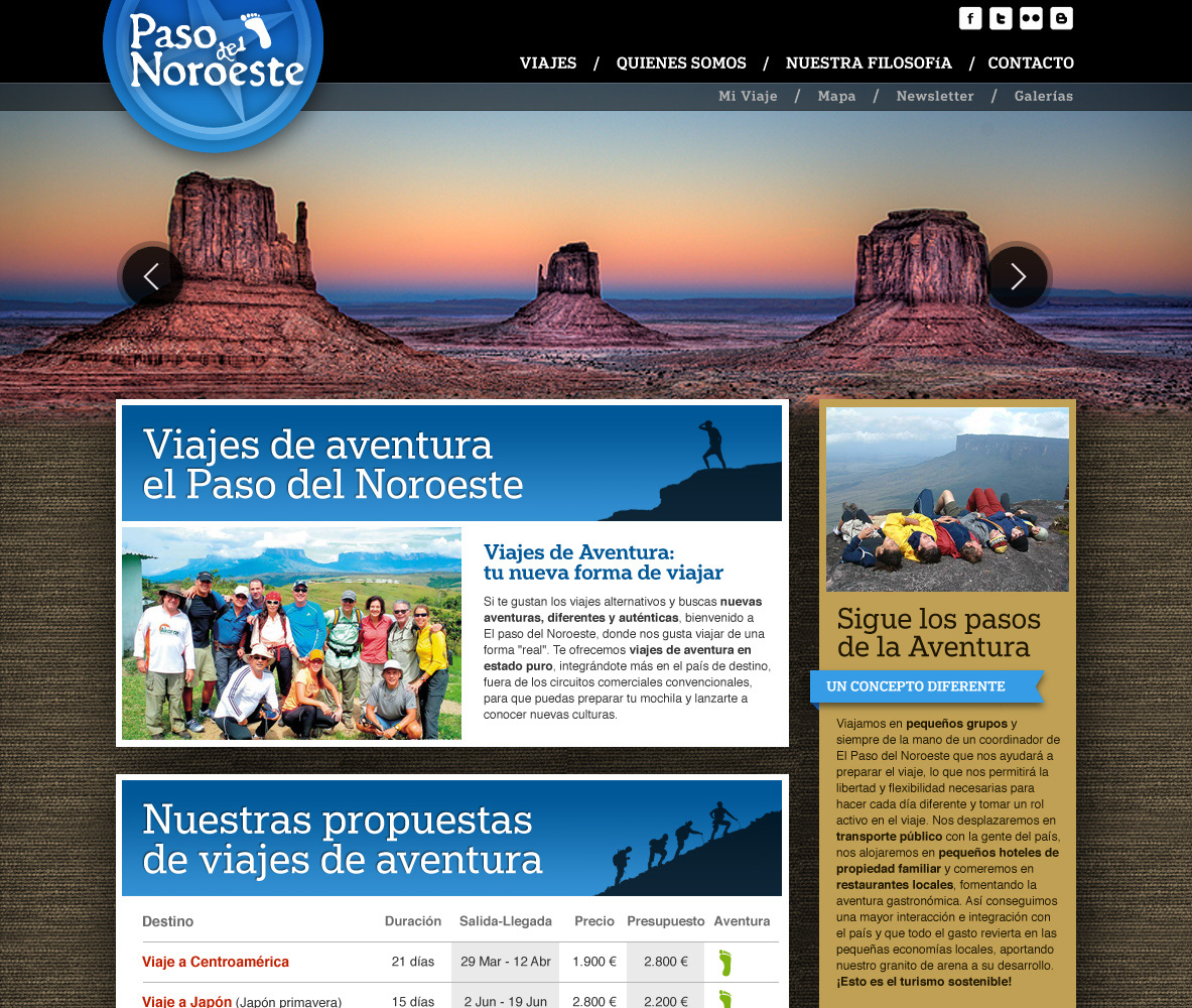 nuevo diseño home web Paso del Noroeste