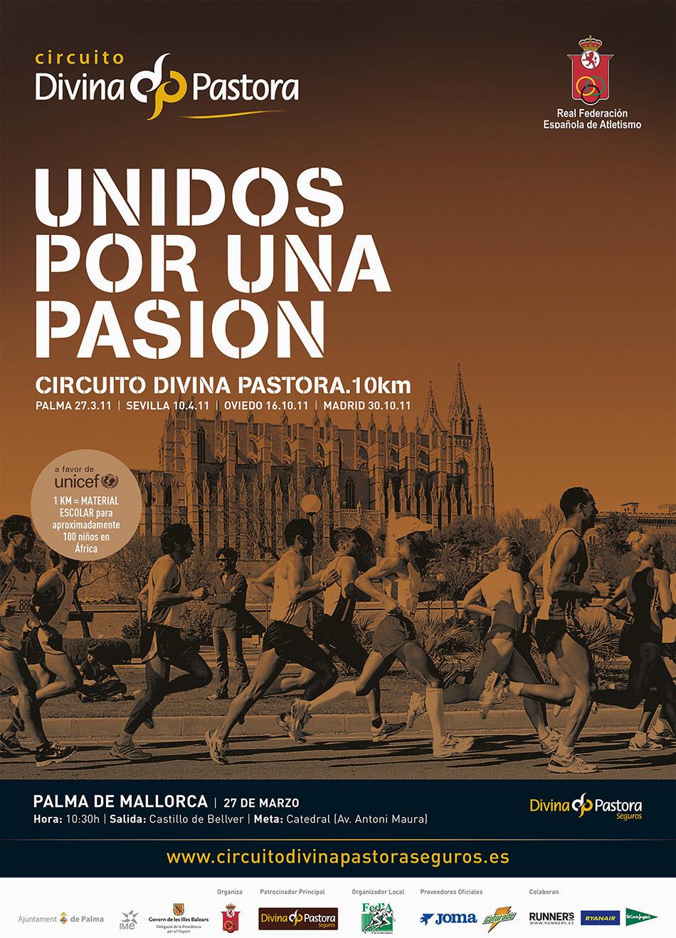 Cartel de campaña unidos por una pasión ciudad de Palma de Mallorca