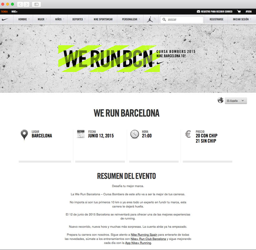 Ventana web WE RUN BARCELONA
