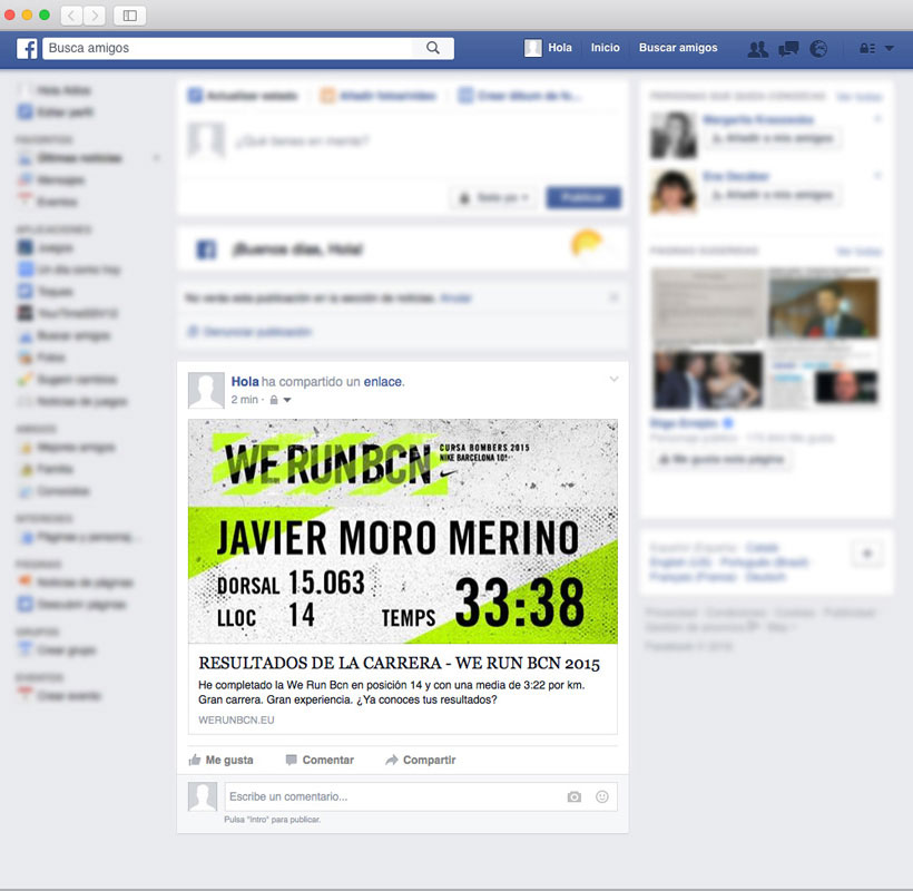 Diploma en muro de facebook de la WE RUN Barcelona